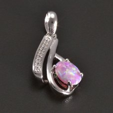 Silber Anhänger- rosafarbener Opal