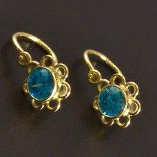 Gold-Kinder Ohrringe-blauer Zirkon