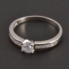 Weißgold-Ring-Haupstein Diamant
