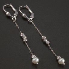 Weißgold-Ohrhänger-Perlen