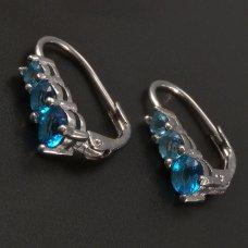 Silberne Ohrringe- hellblau