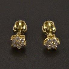 Weißgoldene Ohrringe-Blumen und Diamanten