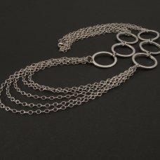 Silber-Halskette Ringe rhodiniert
