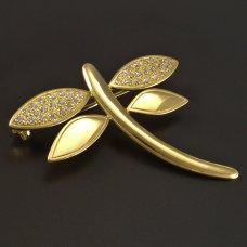 Goldene Brosche Libelle