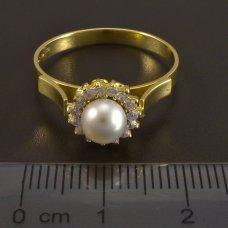 Goldring Perle und Zirkone