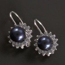 Weißgoldene Ohrringe mit schwarze Perle