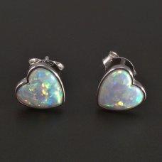 Silberne Ohrringe- weißes Herz