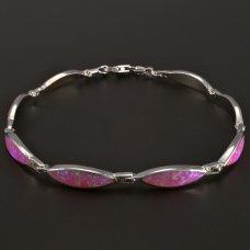 Rosaopal-Armband-Silber
