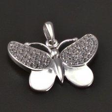 Schmetterling-Weißgold-Anhänger