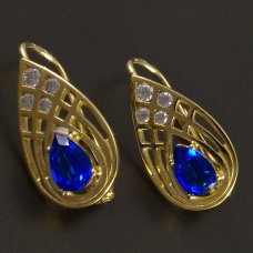 Goldene Ohrringe mit blauem Zirkon