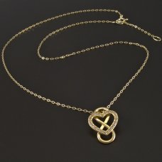 Herz und Unendlichkeit im Collier Gold 585