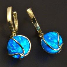Goldene Ohrringe-blauer Opal